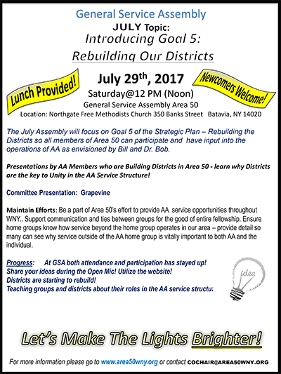 Area 50 General Assembly Meeting @ North Gate Free Methodist Church (host: Gen-Wyo Intergroup) | Batavia | New York | United States